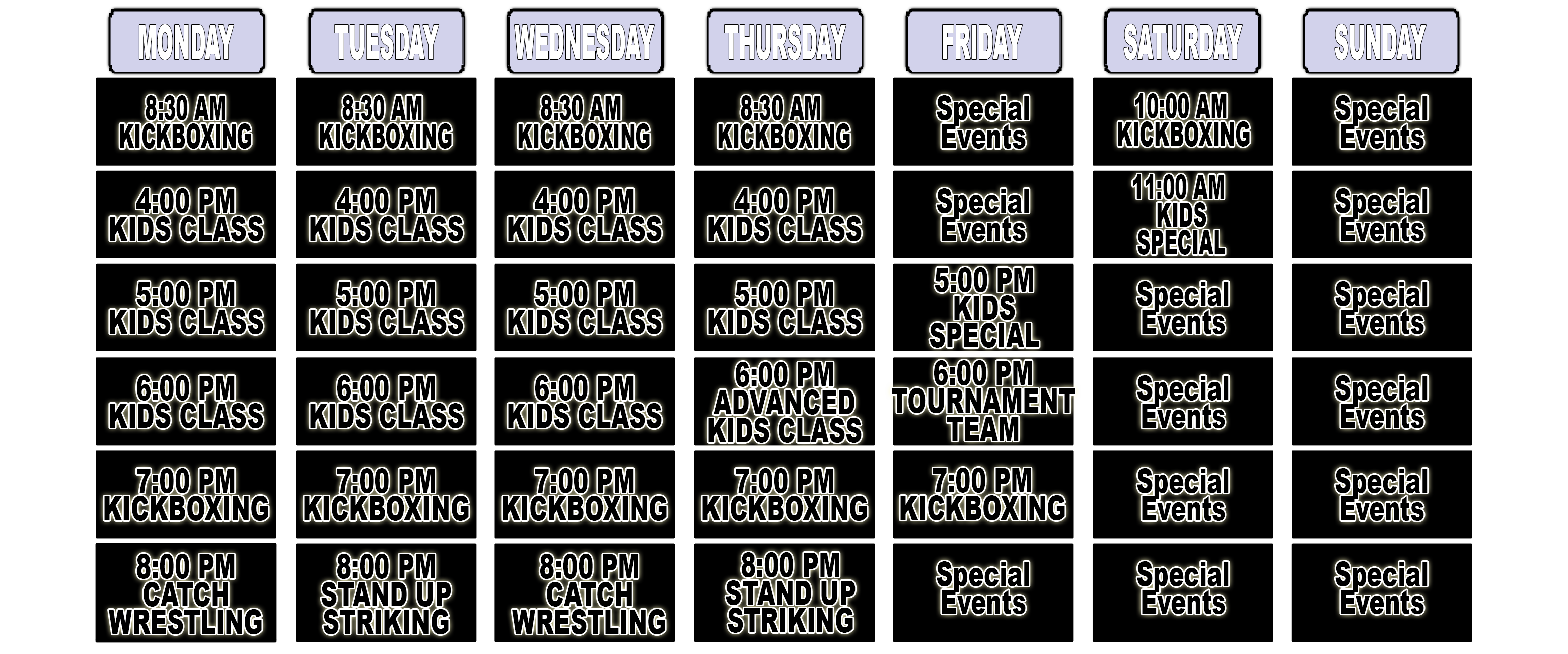 Maspeth Martial Arts - Schedule of Classes